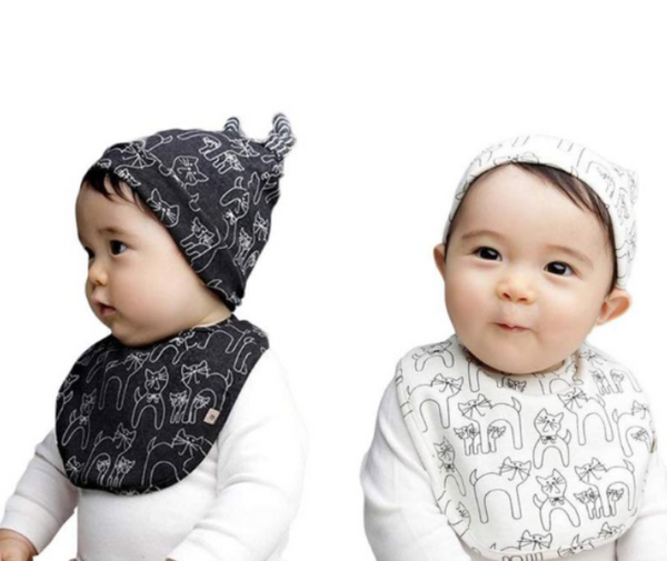 "Cute Kids Baby Cotton Saliva Bib Scarf And Cat Pattern Hat Cap Set ""Hot Selling"""
