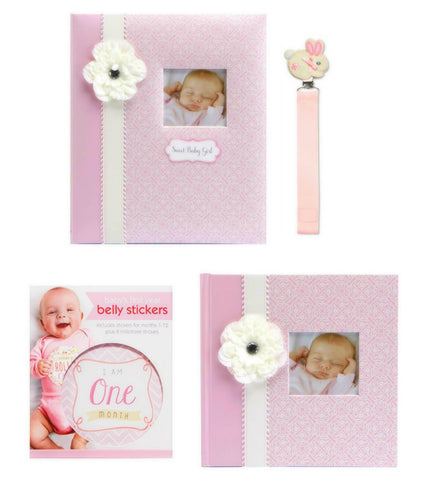 C. R. Gibson Bella Baby Memory Book and Photo Album Journal Gift Bundle