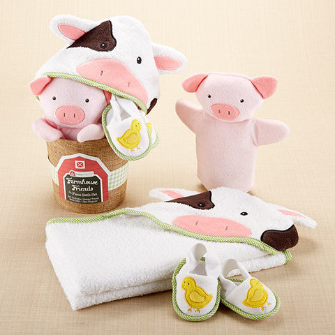 Farmhouse Friends 4-Piece Bathtime Hoodie Bath Shoes Bucket