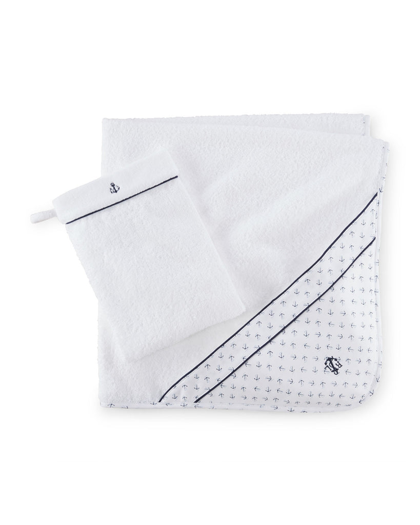 Boys' Hooded Anchor Terry Towel w/ Wash Mitt, White