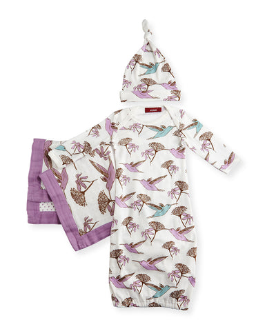 Small Hummingbird Long-Sleeve Newborn Sleep Gown Suitcase Gift Set, Lavender