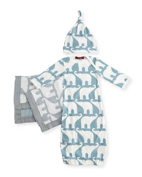 Small Elephant Long-Sleeve Newborn Sleep Gown Suitcase Gift Set, Blue