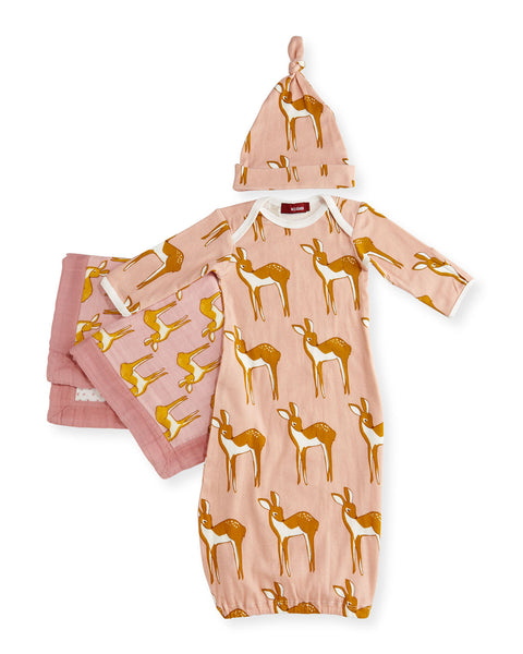 Small Deer Long Sleeve Newborn Sleep Gown Suitcase Gift Set, Rose