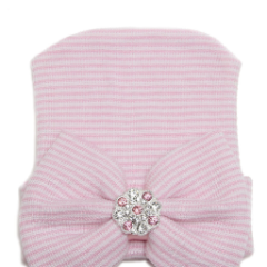 Cute Pink Hospital Beanie for Newborn Infant Girl