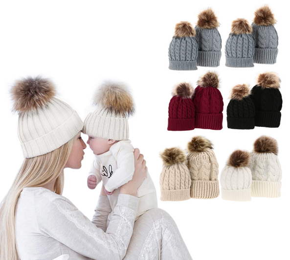 Mom & Baby Knitted Pompom Hat Set