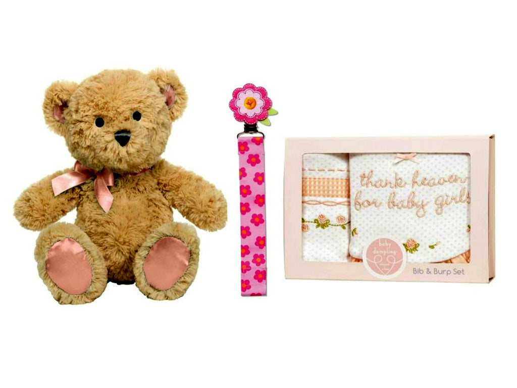 Baby First Teddy Bear Musical Plush with Bib & Burp Gift Set