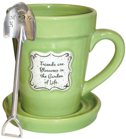 Friends Are Blossoms In The Garden Of Life Green 14 Ounce Flower Pot Coffee Mug With Saucer Lid