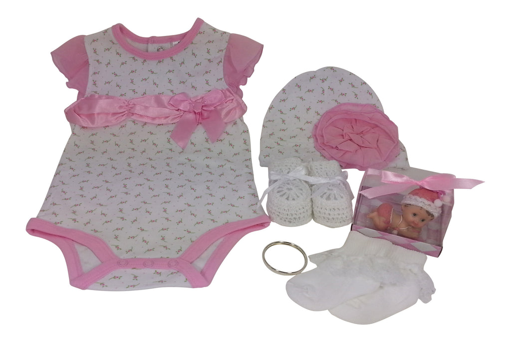 Pink Ribbon Onsie Body Suit &Hat Gift Set 3 -6 Mos