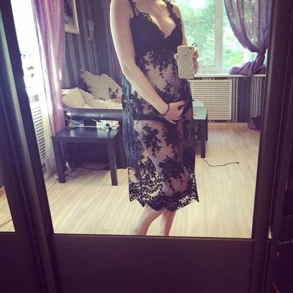 Maternity Gown Lace Long Dress Pregnant - White or Black