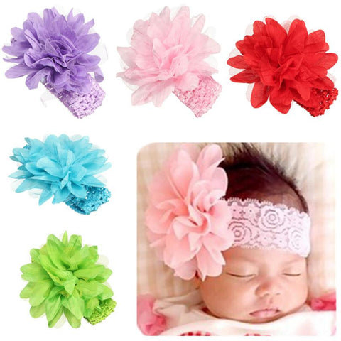 Newborn Baby Girls Satin Ribbon Flower Headbands
