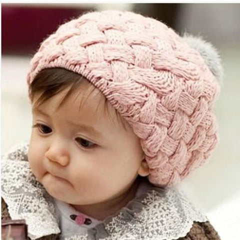 Cute Baby Girl Handmade Crochet Knitted Pom Poms Beret Hat