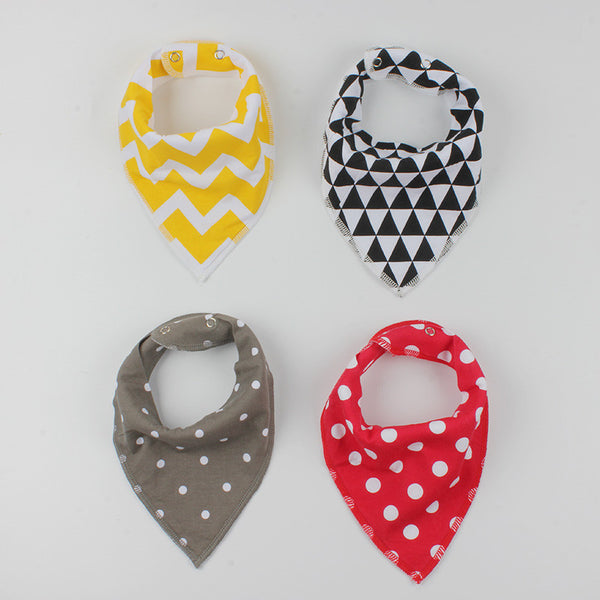 4Pcs Colorful Baby Bibs Burp Bandana Triangle Scarf