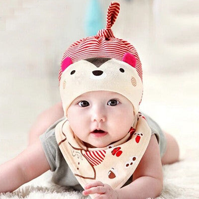Baby 2 Piece Bibs Hat Skullie Beanie Pirate Cotton Cap Boys Girls 0-1 Years