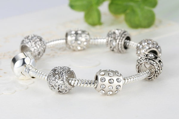 Beautiful Silver Plated Crystal Bead Womens Charm Bracelet