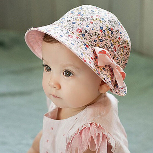 Baby Girl Bucket Hat Floral & Solid Soft Cotton Outdoor Newborn Beach Cap Revisible