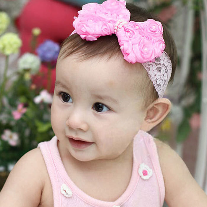 Newborn Baby Girl Satin Flower Lace Ribbon Bow Headband
