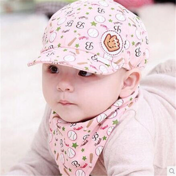 Cartoon Baby Hat Bandana Bib Set Cotton Toddler Infant