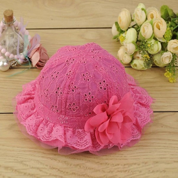 Cute Baby Girls Hollow Sun Cap Pure Color Lace Sunshade Summer Beach Bucket Flower Hat