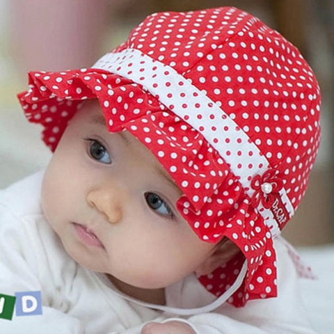 Kids Toddlers Baby Girls Sun Hat Polka Dot Flower Bucket Cap Bowknot Pearl Hat