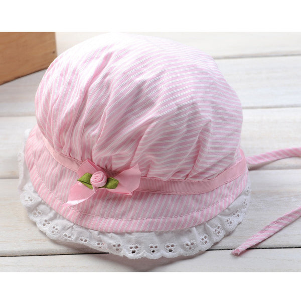 Baby Girl Lace Flower Sun Hat Cotton Summer 0-12 Months Newborn Toddlers