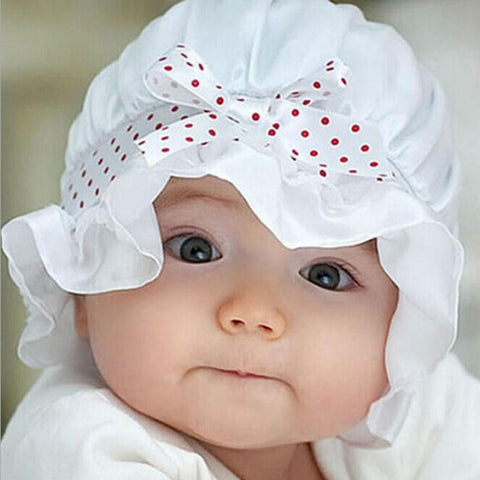 ee1a8fd0866 Sold Out Newborn Baby Bucket Sun Hat Silk Lace Sun Polka Dots 0-12 Months