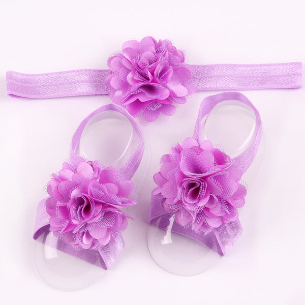 Newborn Baby Satin Flower Headband & Barefoot Sandal Sets