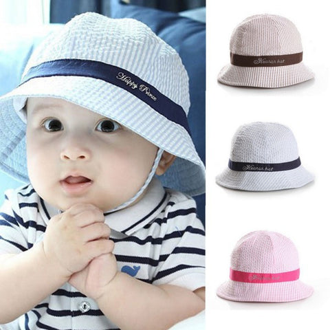 Toddler Infant Sun Cap Summer Outdoor Baby Boy Hats Sun Beach Bucket Hat 2 Colors
