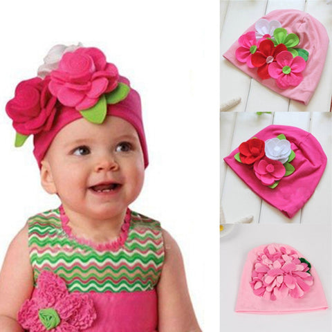 Baby Girls Lovely Headwear Big 3D Flower Beanies Cap Hats