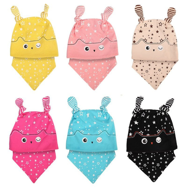 0 - 3 Years Newborn Baby Cap Sets Owl Pocket Hat Bibs Set Baby Sleeping Accessories