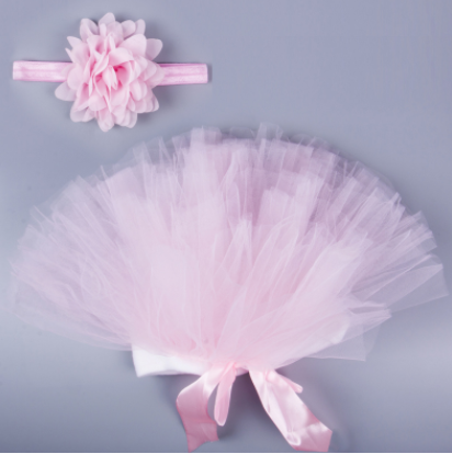 Baby Girl Tulle Tutu Skirt And Flower Headband Set For Newborn Photography Props
