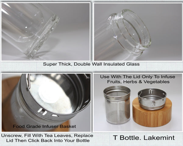 T By Lakemint. Glass Tea and Fruit Infuser Bottle