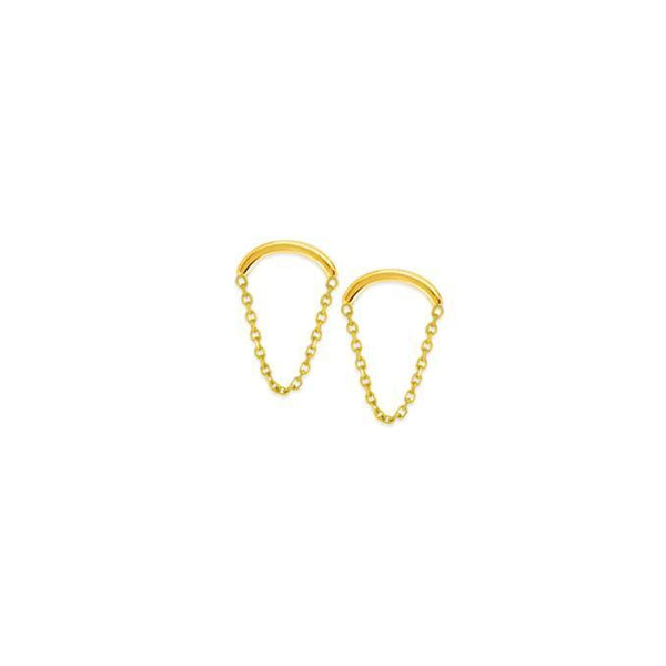 14K Gold Mini Chain Stud Earring 14K - Adina's Jewels