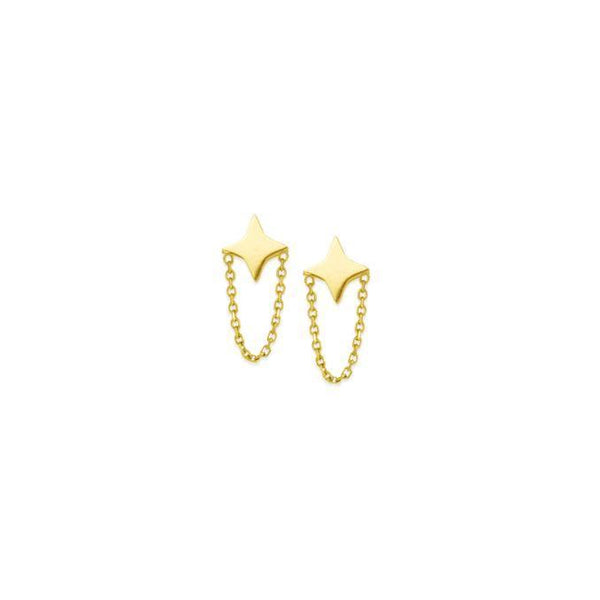 14K Gold Star Chain Stud Earring 14K - Adina's Jewels