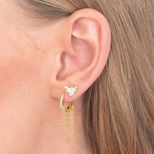 Pavé Chain Huggie Earring  - Adina's Jewels