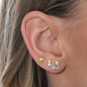 CZ Star Cluster Stud Earring  - Adina's Jewels