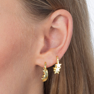 Mini Dangling Stars Huggie Earring  - Adina's Jewels