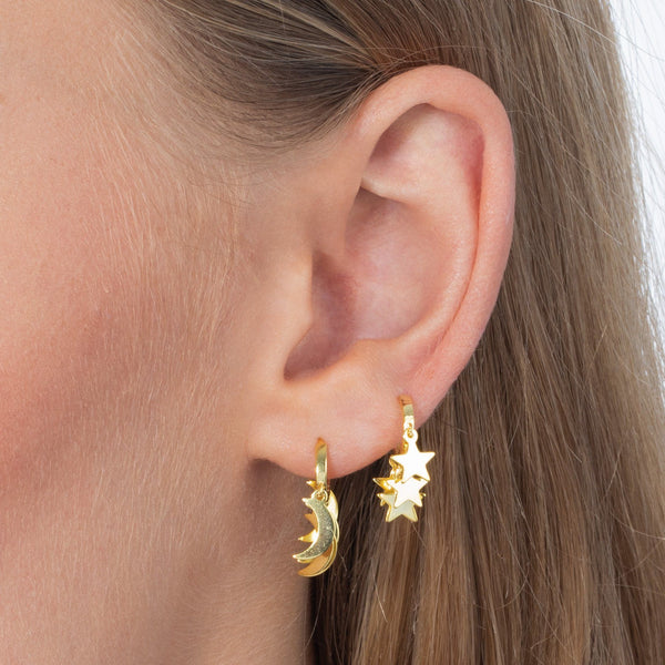 Mini Dangling Stars Huggie Earring