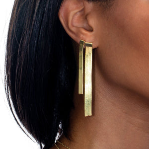 Herringbone Drop Stud Earring  - Adina's Jewels