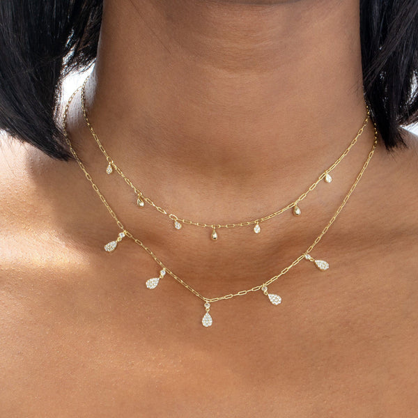 Pavé Teardrop Link Necklace