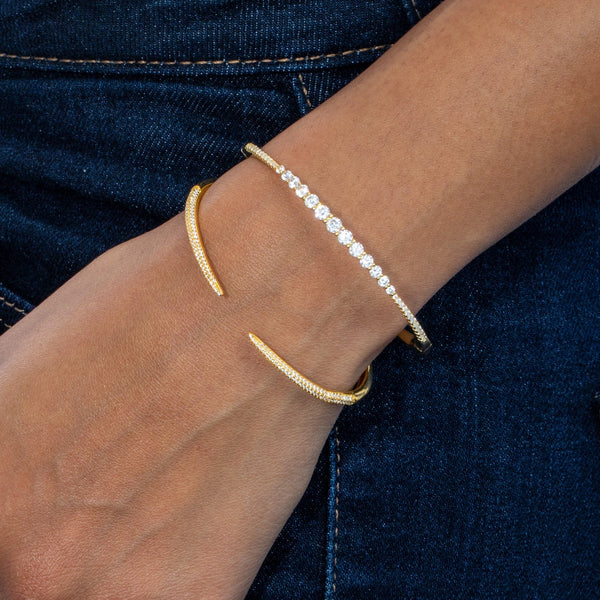 CZ Graduated Round Bangle