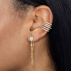 CZ Flower X Baguette Chain Stud Earring  - Adina's Jewels