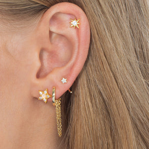 Mini Solid Star Threader Hoop Earring 14K  - Adina's Jewels