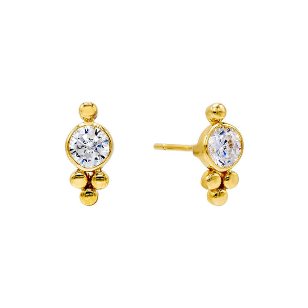 14K Gold / Pair Beaded X CZ Stud Earring 14K - Adina's Jewels