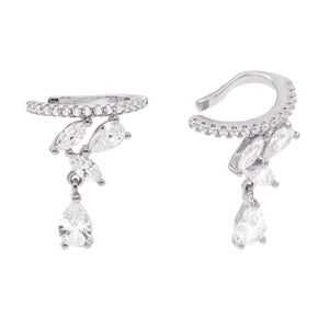 Silver / Right Teardrop Charm Ear Cuff - Adina's Jewels