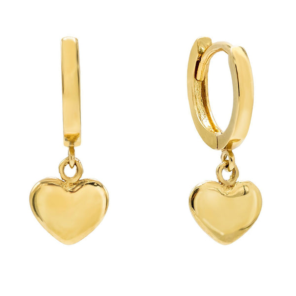 14K Gold Mini Heart Huggie Earring 14K - Adina's Jewels
