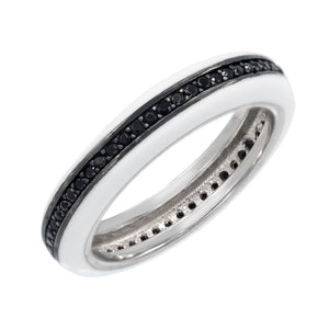 Onyx / 6 Enamel CZ Ring - Adina's Jewels