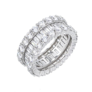 CZ Baguette Eternity Band Silver / 7 - Adina's Jewels