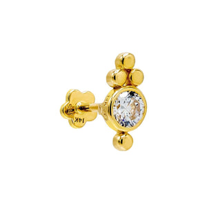 14K Gold / Single Beaded X Bezel Threaded Stud Earring 14K - Adina's Jewels