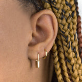 Thin Hammered Huggie Earring