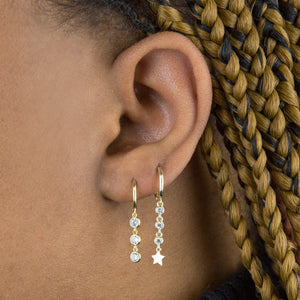 Bezel Drop Huggie Earring  - Adina's Jewels